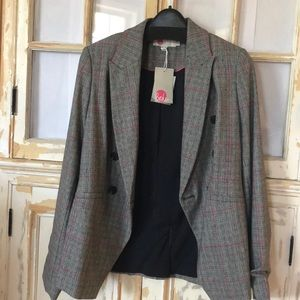 Boden tweed lightweight blazer - grey & pink check